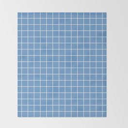 Livid - blue color - White Lines Grid Pattern Throw Blanket