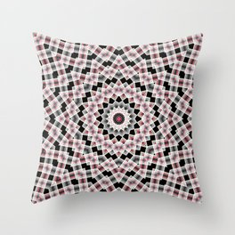 Red , black , white, Kaleidoscope Throw Pillow