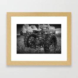 Abandoned Old Farmall Tractor in Black and White Framed Art Print