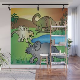 Dinosaurs, Triceratops, Stegosaurus at the Dinosaur water hole by Beebus Marble Wall Mural
