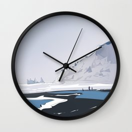 Vik Reynisfjara Black Sand Beach, Iceland Travel Poster Wall Clock