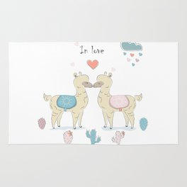 Llamas In Love Rug