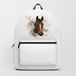 Brown and White Horse Watercolor Backpack