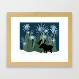 Moose in the Snowy Forest Framed Art Print