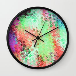 flower pattern abstract background in green pink purple blue Wall Clock