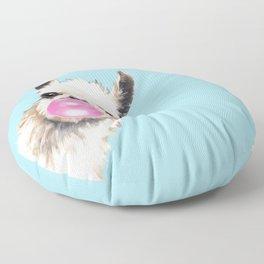 Bubble Gum Sneaky Llama in Blue Floor Pillow