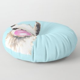 Bubble Gum Sneaky Llama in Blue Floor Pillow
