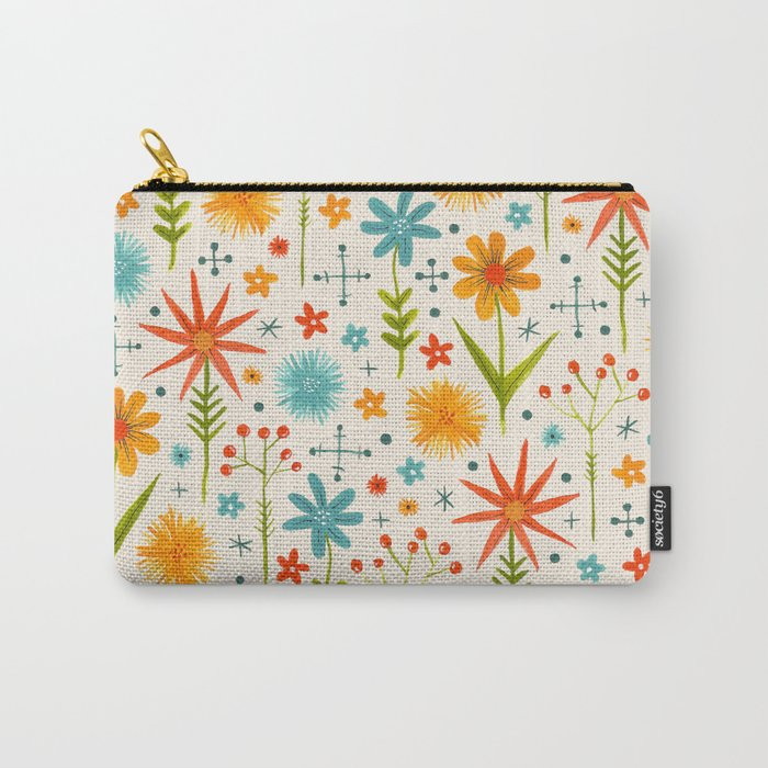 bright retro style floral pattern in red yellow blue and green Carry-All Pouch