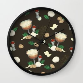 cocktail recipe pattern _ brandy flip Wall Clock