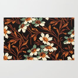 White gothic flowers Rug