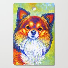 Colorful Long Haired Chihuahua Dog Cutting Board