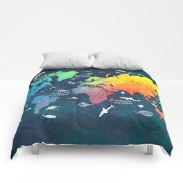 Ocean World Map color #map #worldmap Comforters