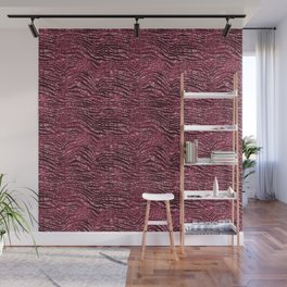 Burgundy Red Glam Glitz Zebra Print Wall Mural