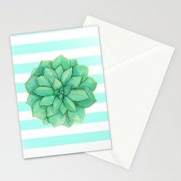 Aeonium Succulent Green with Yellow Stationery Cards