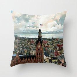 Milwaukee Wisconsin - Vintage Panoramic View Throw Pillow