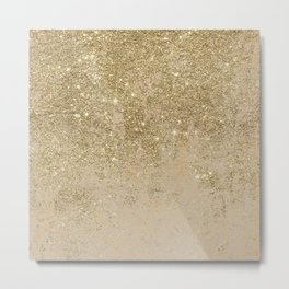 Girly trendy gold glitter ivory marble pattern Metal Print