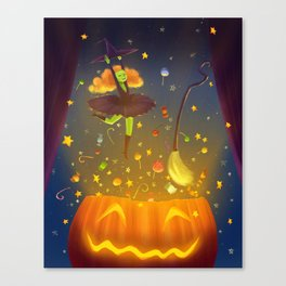 Witch Surprise From Pumpkin in Halloween Night Canvas Print