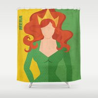 aquaman Shower Curtains featuring Mera by Loud & Quiet