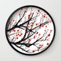 sakura Wall Clocks featuring Sakura by rchaem