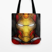 mandie manzano Tote Bags featuring The Iron Man by Mandie Manzano