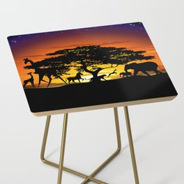 Wild Animals on African Savanna Sunset Side Table