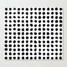 Black and White Minimal Minimalistic Polka Dots Brush Strokes Painting Canvas Print