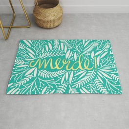 Pardon My French – Gold on Turquoise Rug
