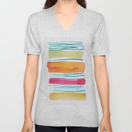 15   |181026 Lines & Color Block | Watercolor Abstract | Modern Watercolor Art Unisex V-Neck