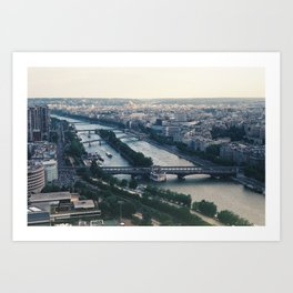 Paris france from the Eiffel Tower black & white photograph zollione Art Print