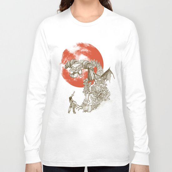 Junkyard Dragon (monochrome version) Long Sleeve T-shirt