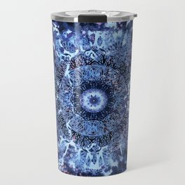 Iris Mandala Blue Travel Mug