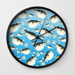 Puffer Fish Blue Pattern Wall Clock