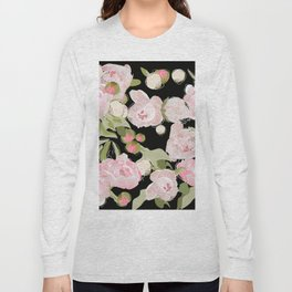 Peonies on Black Long Sleeve T-shirt