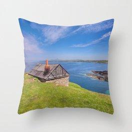 Fisherman`s Hut Throw Pillow