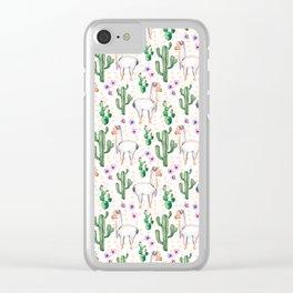 Funny Llama Pattern Clear iPhone Case