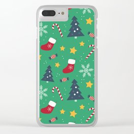 It's Christmas Time Colourful Pattern Clear iPhone Case