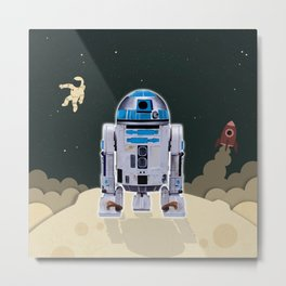 Space Robot Metal Print