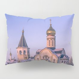 Russian Orthodox church in winter Pillow Sham