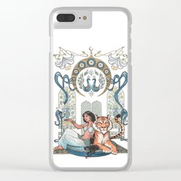 Every Girl Is A Princess 03: Arabian Nights Art Nouveau Aladdin's Princess Jasmine and Rajah Clear iPhone Case