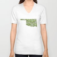 oklahoma V-neck T-shirts featuring Oklahoma in Flowers by Ursula Rodgers
