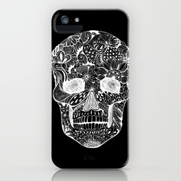 Human skull with hand- drawn flowers, butterflies, floral and geometrical patterns iPhone Case