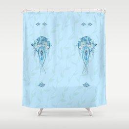 Jellyfish and Beta Fish in a Cyan Seaweed Sea Shower Curtain