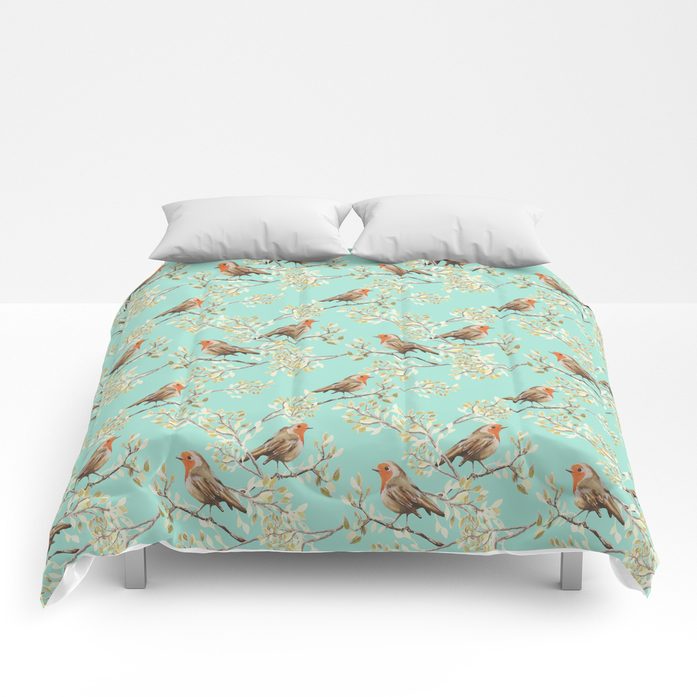 Vintage Redbreast Robin Pattern Comforter by Tanyalegere (CMF7776169) photo