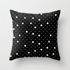 Pin Point Polka Dots White on Black Throw Pillow