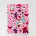 Lucky Cat Maneki Neko , Dragons and Koi fish On Pink by fluffshop
