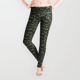 Herbs in Hand-Done Calligraphy Leggings
