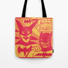 Beware the Yellow and Red Batmen Tote Bag