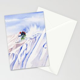 Powder Skiing Stationery Cards