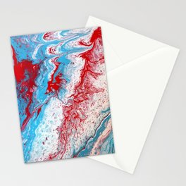 Marble Red Blue Paint Splatter Abstract Painting by Jodilynpaintings Red Stationery Cards