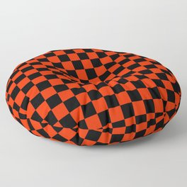 Black and Scarlet Red Checkerboard Floor Pillow
